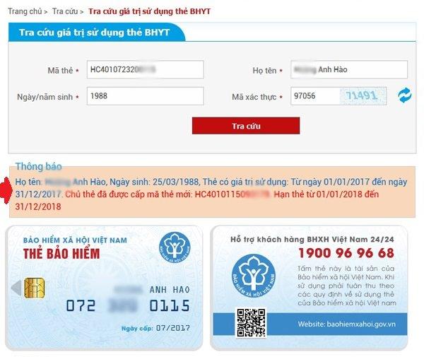 tra mã thẻ bảo hiểm y tế trên mạng